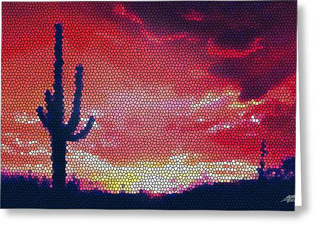 Sonoran Sunrise Greeting Card by Steve Huang
