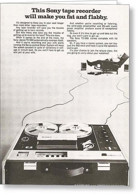 Tape Recorder Greeting Cards - Sony Vintage Advert Greeting Card by Nomad Art And  Design