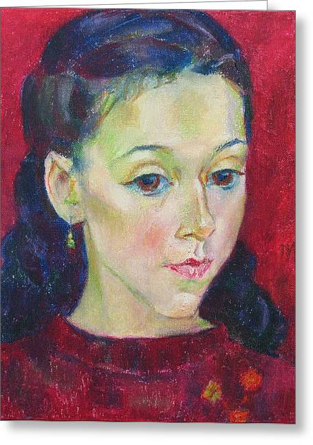 Girl Greeting Cards - Sonya Greeting Card by Leonid Petrushin