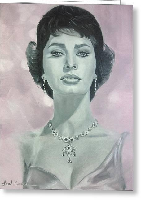 Sophia Loren Portrait Greeting Cards - Sophia in the Pink Greeting Card by Leah Branscum