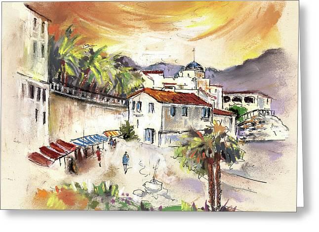 Travel Sketch Drawings Greeting Cards - Sorbas in Spain 02 Greeting Card by Miki De Goodaboom