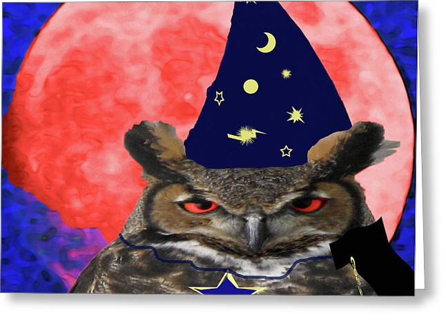 Party Hat Posters Greeting Cards - Sorcerer Of The Night Greeting Card by Debra     Vatalaro