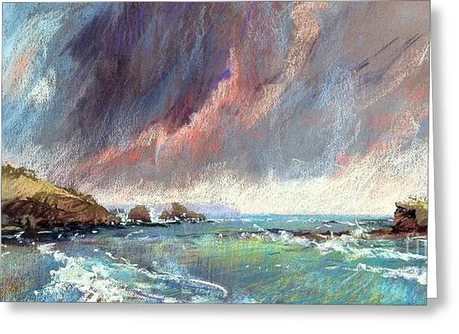 Cliffs Pastels Greeting Cards - Sorrento Storm Greeting Card by Pamela Pretty