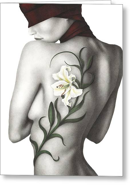 Black And White Nudes Greeting Cards - Sorrow Greeting Card by Pat Erickson