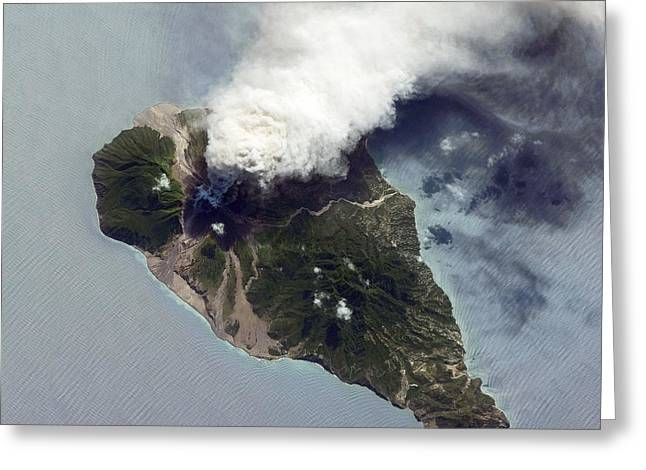 Oceans 11 Greeting Cards - Soufriere Hills Eruption, Iss Image Greeting Card by Nasa