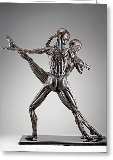 Couples Sculptures Greeting Cards - Soul Dance- Back View Greeting Card by Eduardo Gomez