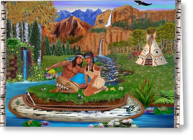 Canoe Waterfall Digital Greeting Cards - Soul Mates Greeting Card by Glenn Holbrook