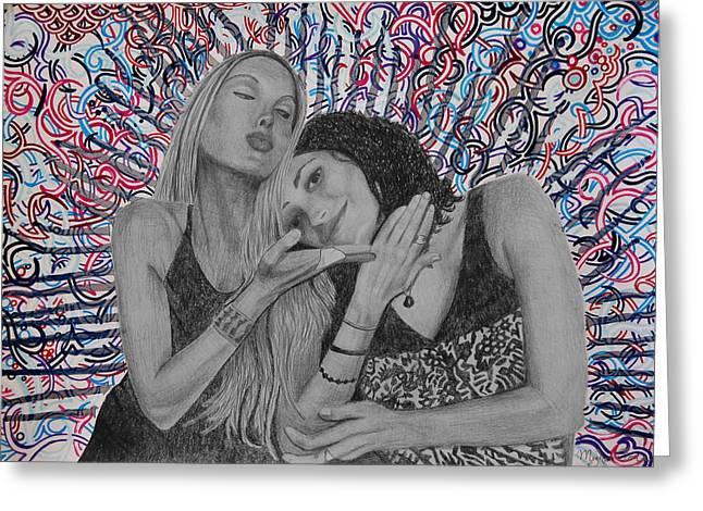 Sweetness Drawings Greeting Cards - Soul Sisters 1 Greeting Card by Meghan Oona Clifford