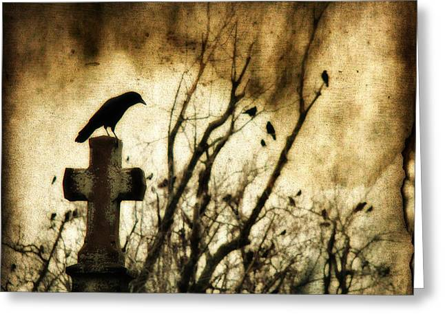Emo Greeting Cards - Soulful Crow Greeting Card by Gothicolors Donna Snyder