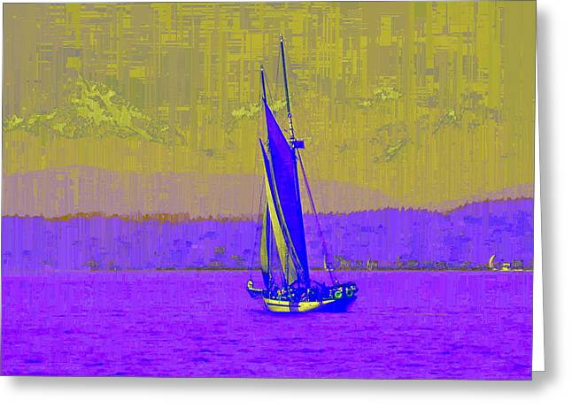 Yellow Sailboats Greeting Cards - Sound Sailin 7 Greeting Card by Tim Allen