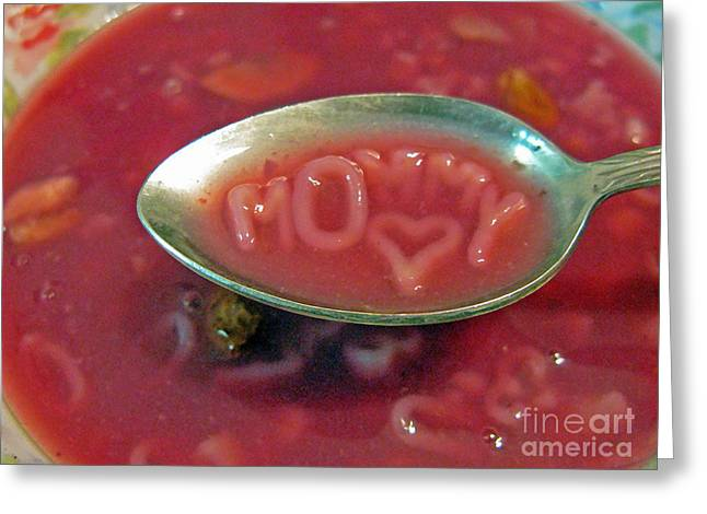 Noodles Greeting Cards - Soup For Mommy Greeting Card by Ausra Paulauskaite