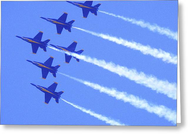 Air Plane Greeting Cards - Souring with the Blue Angles Greeting Card by Mike McGlothlen