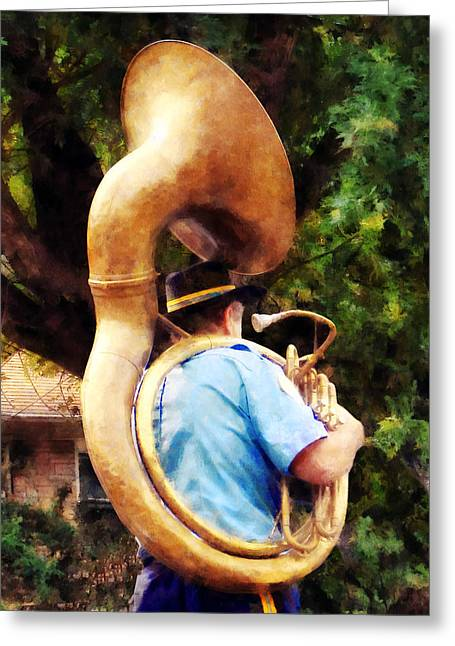 Music Greeting Cards - Sousaphone Marching Away Greeting Card by Susan Savad