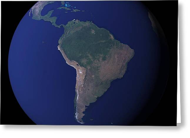 Space Photographs Greeting Cards - South America Greeting Card by Pg Reproductions