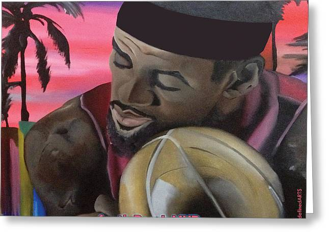 South Beach LeBron Greeting Card by Chelsea VanHook