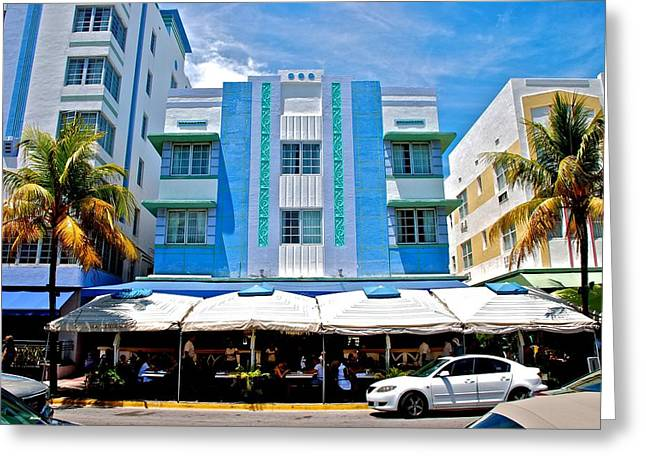 South Beach The Blue Section Greeting Card by Eric Tressler