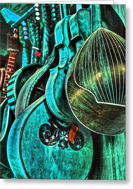 Turquoise Violin Greeting Cards - South by Southwest Greeting Card by Frank SantAgata