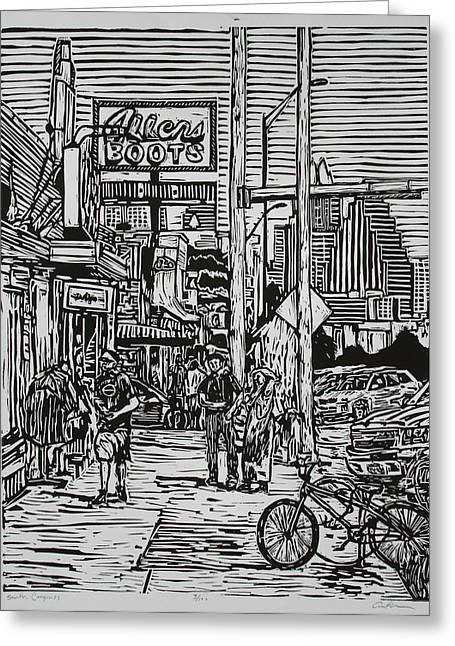 Linoluem Greeting Cards - South Congress Greeting Card by William Cauthern