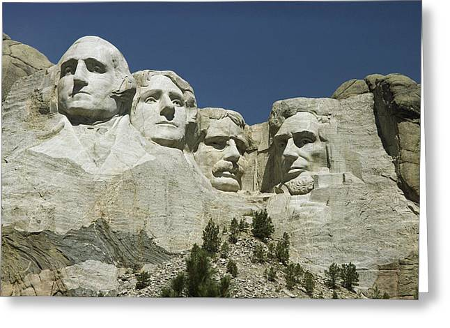 American Presidents And Prime Ministers Greeting Cards - South Dakotas Famed Mount Rushmore Greeting Card by Wolcott Henry