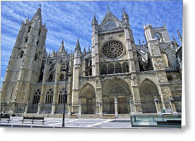 Rose Window Greeting Cards - South Facade Of Leon White Gothic Greeting Card by Axiom Photographic