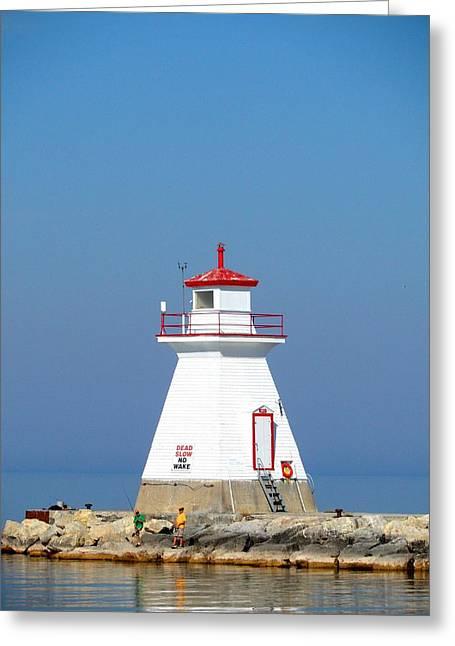 Beach At Night Greeting Cards - South Hampton Lighthouse 1 Greeting Card by Cyryn Fyrcyd