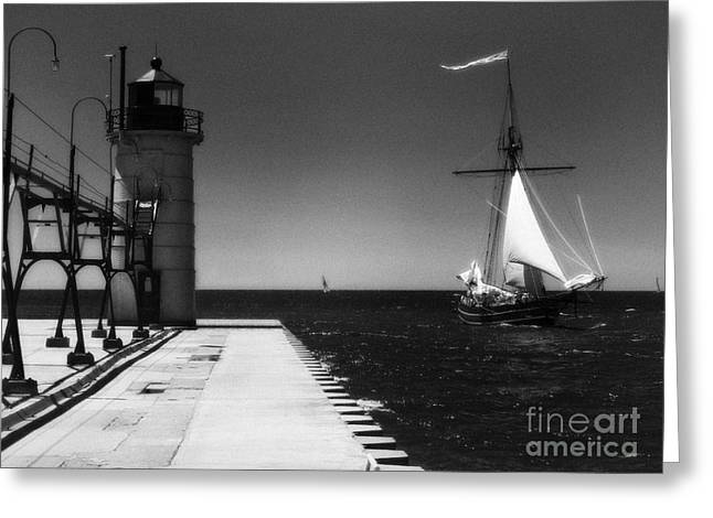 Jeff Holbrook Greeting Cards - South Haven Lighthouse and Sailboat Greeting Card by Jeff Holbrook
