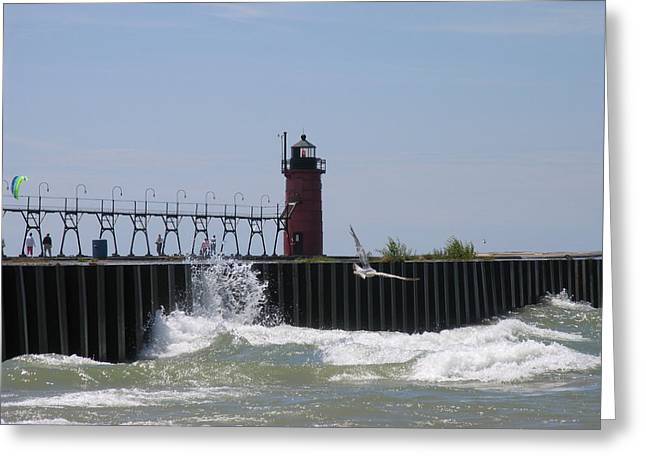 South Haven Lighthouse Greeting Card by Matthew Winn