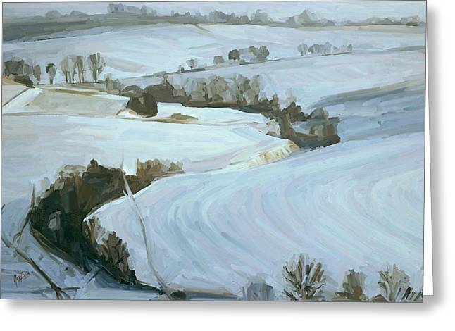 Limburg Greeting Cards - South Limburg covered with snow Greeting Card by Nop Briex
