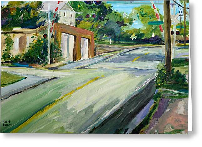 Scott Nelson Paintings Greeting Cards - South Main Street Train Crossing Greeting Card by Scott Nelson