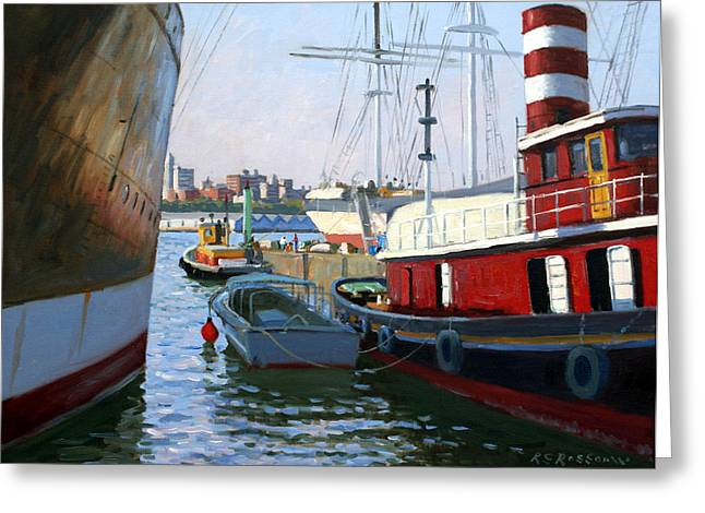 South Street Sea Port Greeting Card by Roelof Rossouw