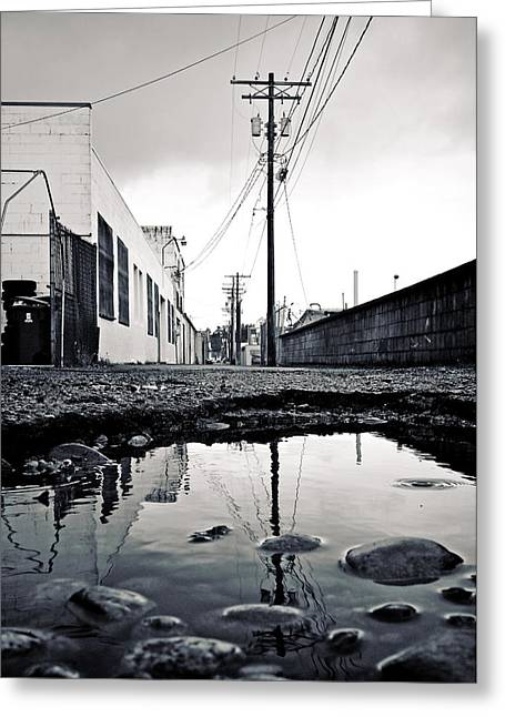 Telephone Pools Greeting Cards - South Tacoma alley Greeting Card by Vorona Photography