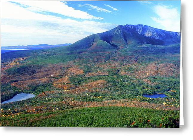 Baxter Park Greeting Cards - South Turner Mountain Katahdin View Greeting Card by John Burk