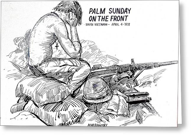 Military Hero Drawings Greeting Cards - South Vietnam Veteran Greeting Card by Bill Joseph  Markowski