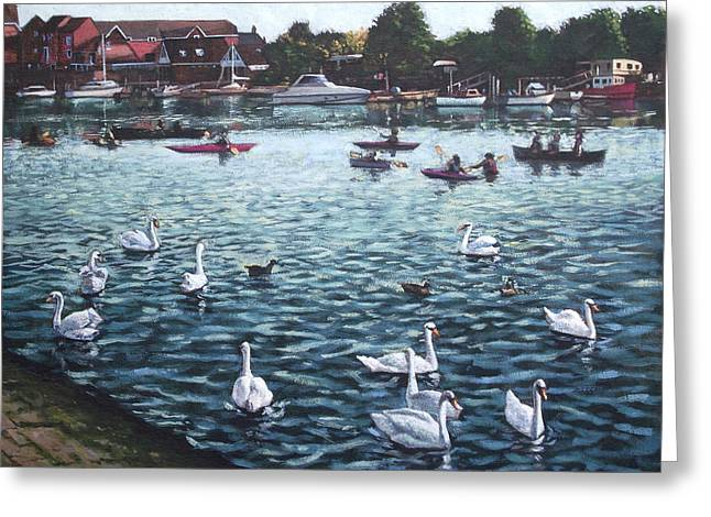 Canoe Paintings Greeting Cards - Southampton Riverside Park River itchen Greeting Card by Martin Davey