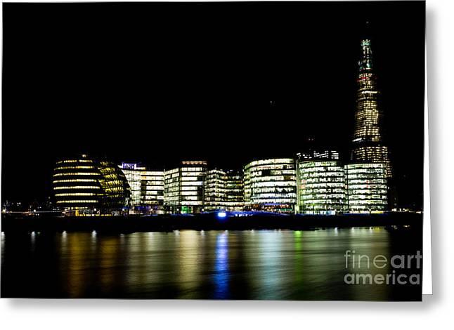 Night Lamp Greeting Cards - Southbank London At Night Greeting Card by David Pyatt