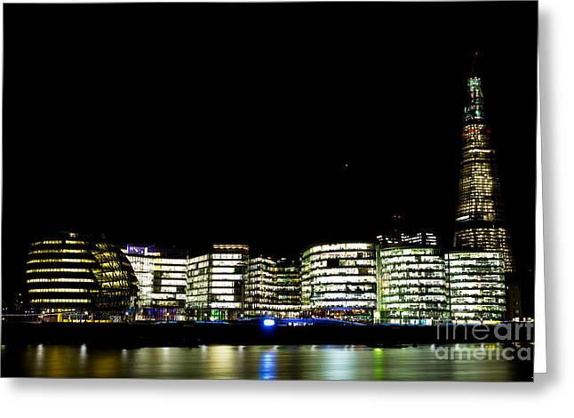 Night Lamp Greeting Cards - Southbank View across the River Thames Greeting Card by David Pyatt