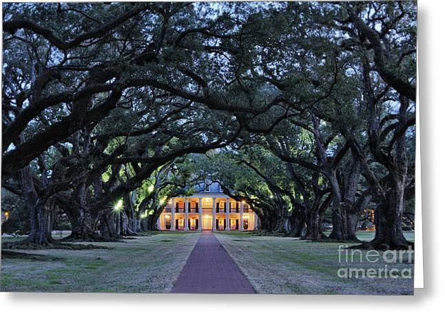 Old Growth Greeting Cards - Southern Manor Home at Night Greeting Card by Jeremy Woodhouse