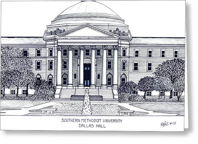 Pen And Ink Drawing Mixed Media Greeting Cards - Southern Methodist University Greeting Card by Frederic Kohli