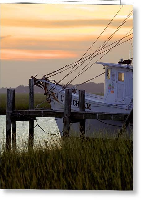 Shrimp Boat Greeting Cards - Southern Shrimp Boat Sunset Greeting Card by Dustin K Ryan