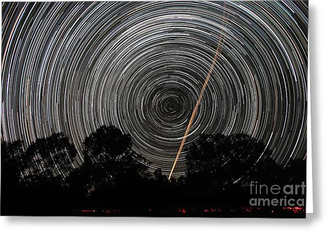 Circular Motion Greeting Cards - Southern Sky Star Trails And Aircraft Greeting Card by Philip Hart