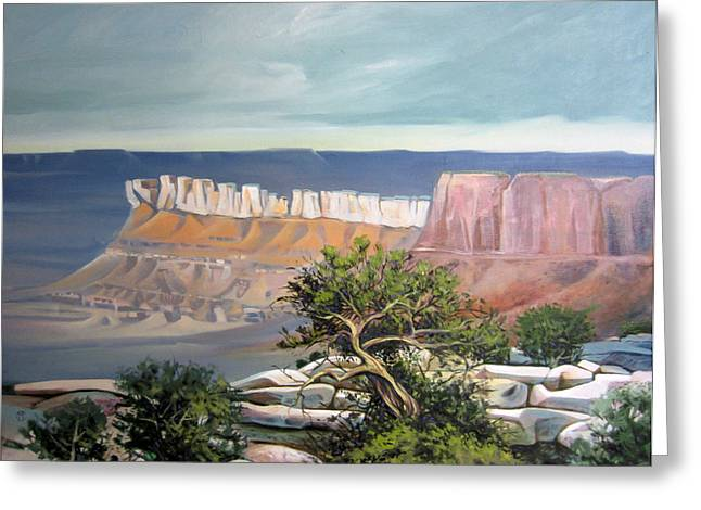 Pinion Paintings Greeting Cards - Southern Utah Butte Greeting Card by Matthew Chatterley