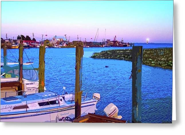 Boats In Harbor Greeting Cards - Southport Lights Greeting Card by Garland Johnson