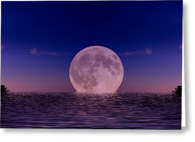 Abstract Digital Photographs Greeting Cards - Southport pier setting moon Greeting Card by David French