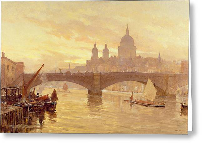 Moonlight Scene Paintings Greeting Cards - Southwark Bridge Greeting Card by Herbert Menzies Marshall