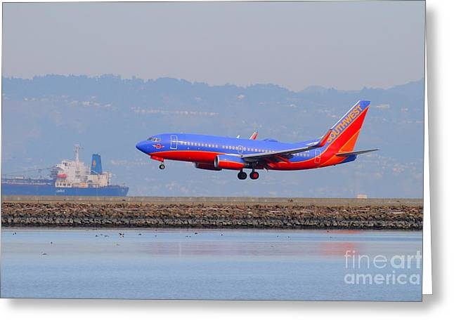 Southwest Airlines Jet Airplane At San Francisco International Airport Sfo . 7d12176 Greeting Card by Wingsdomain Art and Photography