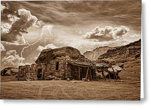 Images Lightning Greeting Cards - Southwest Indian Rock House and Lightning Striking Greeting Card by James BO  Insogna