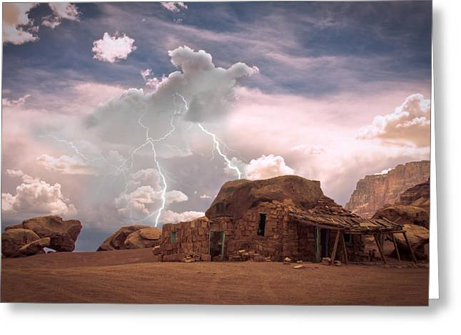 Lightning Strike Mixed Media Greeting Cards - Southwest Navajo Rock House and Lightning Strikes Greeting Card by James BO  Insogna