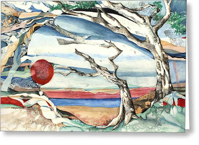 Patricia Mixed Media Greeting Cards - Southwestern Tree Greeting Card by Patricia Allingham Carlson