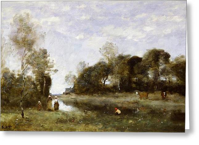 Souvenirs Greeting Cards - Souvenir of the Bresle at Incheville  Greeting Card by Jean Baptiste Camille Corot