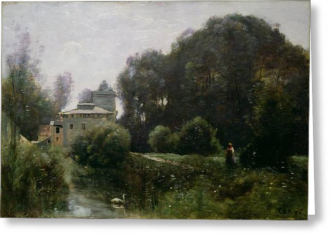 Villa Paintings Greeting Cards - Souvenir of the Villa Borghese Greeting Card by Jean Baptiste Camille Corot